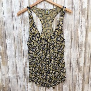 Anthropologie floral blue and beige tank top